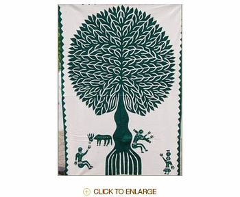 "Tilonia® Wall Hanging - Tree of Life Applique in Green - 24"" x 36"""