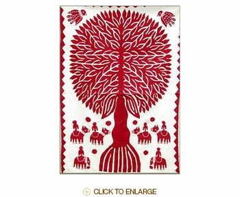 """Tilonia® Wall Hanging - Tree of Life Applique in Red - 24"""" x 36"""""""