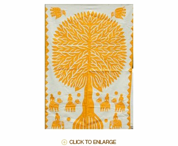 """Tilonia® Wall Hanging - Tree of Life Applique in Yellow - 24"""" x 36"""""""