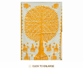 """Tilonia® Wall Hanging - Tree of Life in Yellow - 32"""" x 52"""""""