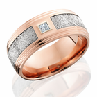 14K Rose Gold Ring With Meteorite Inlay And Diamond