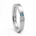 3mm Titanium &  Fancy Blue Diamond Ring