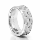 ARTCARVED WhiteTungsten Carbide Wedding Band - Mortar