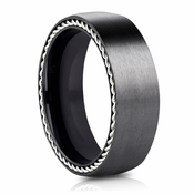 Black Titanium Ring with Silver Rope Edging