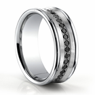 BENCHMARK Concave 14K White Gold and Black Diamond Ring