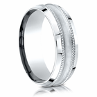 Concaved and Rope Palladium Wedding Band by Benchmark