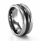 BENCHMARK Tungsten and Black Seranite Ring Reiss