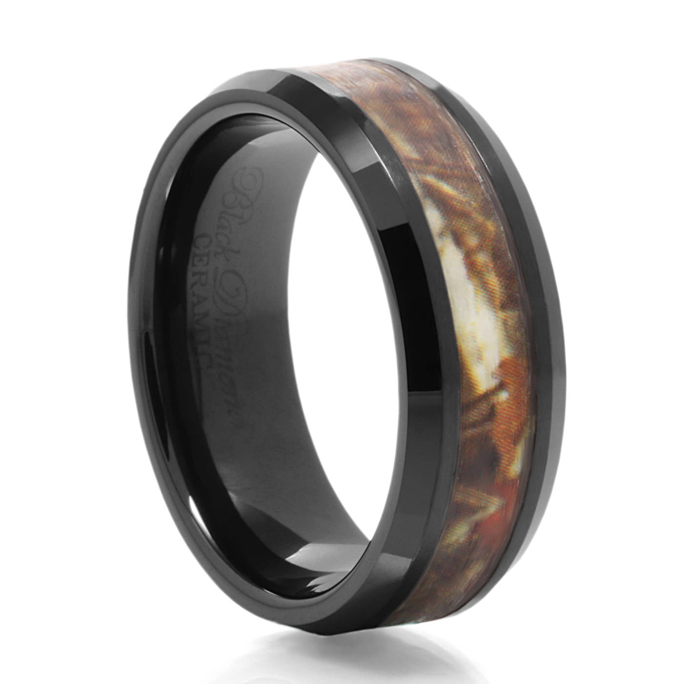 buck black ceramic camo wedding band heavy stone rings camo rings - Orange Camo Wedding Rings