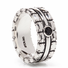 TRITON Sterling Silver Ring With Black Sapphire Chivalry