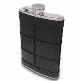 Black Patched Leather Flask