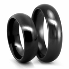 Classic Comfort Fit Black Titanium Wedding Band Set - 6mm - Edward Mirell