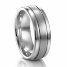 COGE 8mm Ribbed Palladium Wedding Band