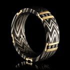 Damascus Ring With Zebra Pattern 14K Yellow Gold & Black Diamonds