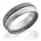 Damascus Steel Acid & Bead Blast Finish Domed Ring by Lashbrook