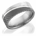 Damascus Steel Flat Band with Sterling Silver Inlay by Lashbrook