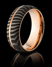 Damascus Steel 14K Rose Gold Ring by Lashbrook