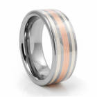DENOBI Tungsten, Silver & Rose Gold Ring by Heavy Stone Rings