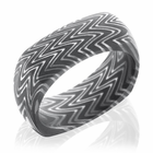 Domed Square Damascus Ring Acid Finish -Zebra by Lashbrook