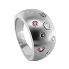 Domed Titanium & Colored Sapphire Scatter Ring