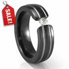 Double Grooved Black Titanium Tension Set Diamond Ring by Edward Mirell
