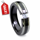 EDWARD MIRELL Black & Gray Titanium Ring with Tension Set Diamond