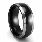 EDWARD MIRELL Black Titanium 8mm Two-Tone Wedding Band