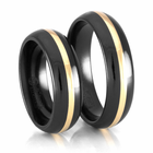 EDWARD MIRELL Black Titanium and Yellow Gold Bands - Set