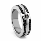 Edward Mirell Black Titanium Cable Ring with Black Spinel