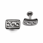 Edward Mirell Black Titanium Cufflinks with Sterling Silver- THORN