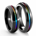 EDWARD MIRELL Black Titanium Rainbow Ring - Set