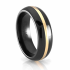 Edward Mirell Black Titanium Ring with 14K Yellow Gold