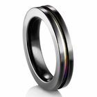 rainbow wedding bands in titanium and black titanium