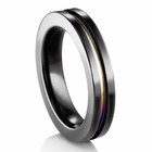 EDWARD MIRELL Black Titanium Ring with Rainbow Anodized Groove