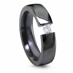 EDWARD MIRELL Black Titanium Ring with Tension Set Diamond