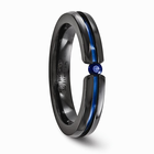 Black Titanium with Blue Anodizing & Blue Sapphire Ring