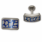 Edward Mirell Cobblestone Titanium Cufflinks with Blue Anodizing