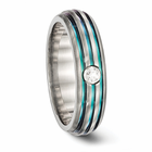Edward Mirell Grooved Rainbow Titanium Ring with White Sapphire