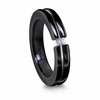 EDWARD MIRELL Ladies Black Titanium Diamond Ring