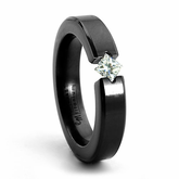 Ladies Black Zirconium & Princess Cut Diamond Diagonal Ring