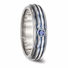 Triple Grooved Blue Anodized & Blue Sapphire Ring