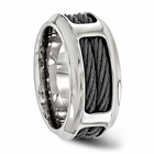 Edward Mirell Stainless Steel & Black Cable Ring