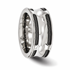 Edward Mirell Stainless Steel & Black Titanium Cable Concave Ring
