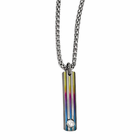 Titanium Rainbow Anodized Triple Grooved Necklace with White Sapphire