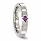 Titanium Ring with a Princess Cut Amethyst