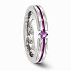 Titanium Ring with Anodizing and Princess Cut Amethyst