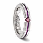 Titanium Ring with Anodizing & Princess Cut Rhodolite Garnet