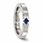 Titanium Ring with Princess Cut Blue Sapphire