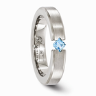 Titanium Ring with Princess Cut Blue Topaz