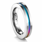 EDWARD MIRELL Titanium Ring with Rainbow Anodized Groove