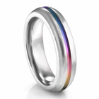 EDWARD MIRELL Titanium Ring with Rainbow Groove